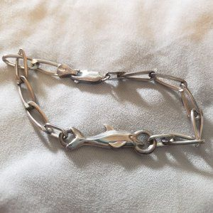 Vintage Jewelry - Sterling Dolphin Bracelet Chain Link Anklet Small